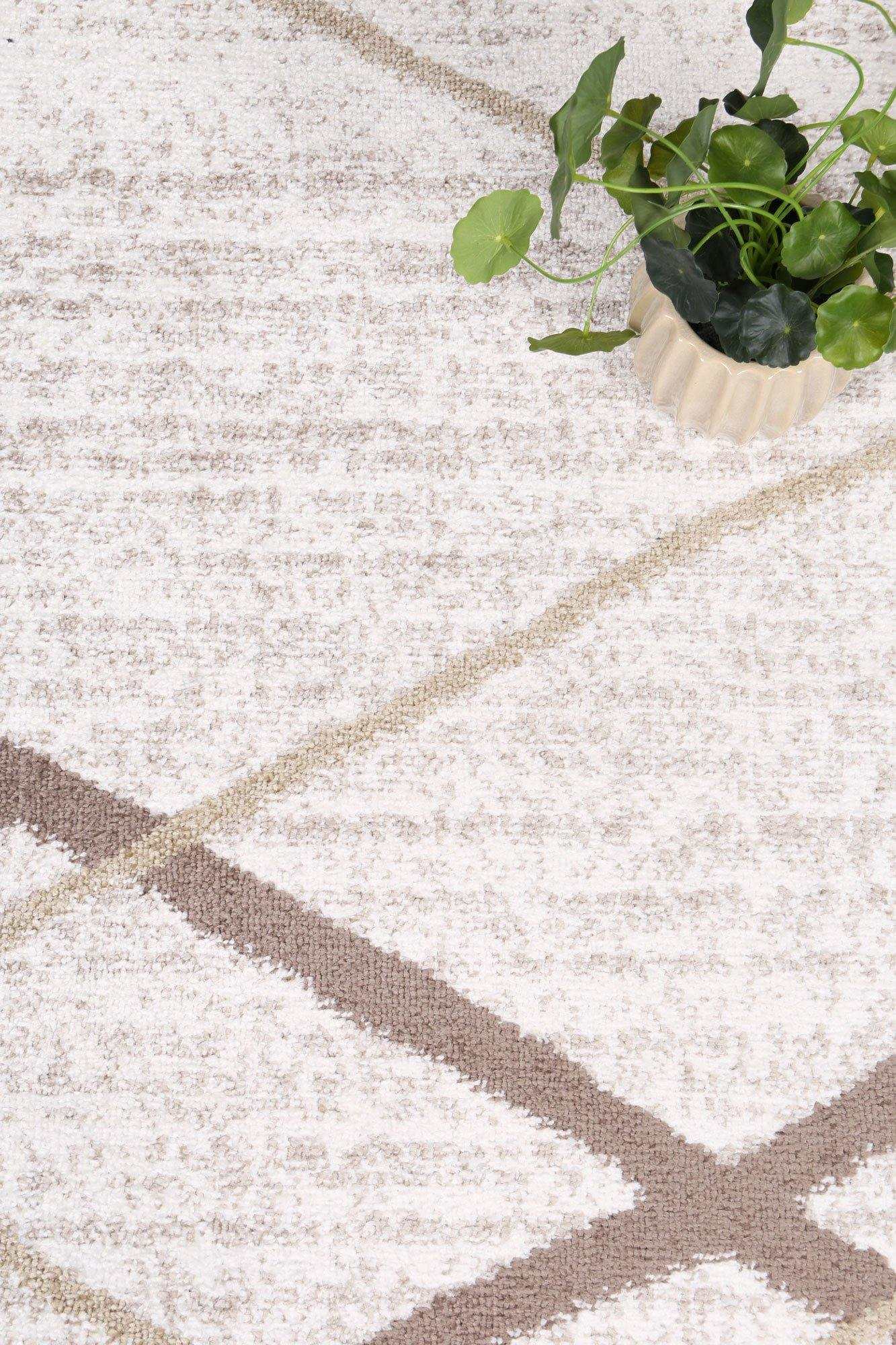 Layla Abstract Stripe Latte Rug - The Rugs