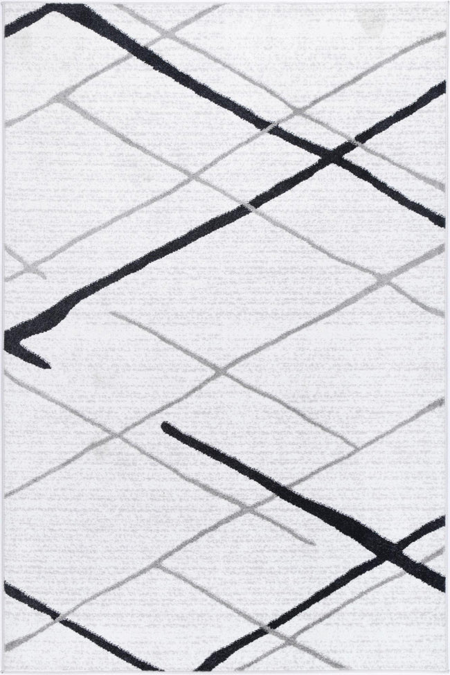 Layla Abstract Stripe White Rug