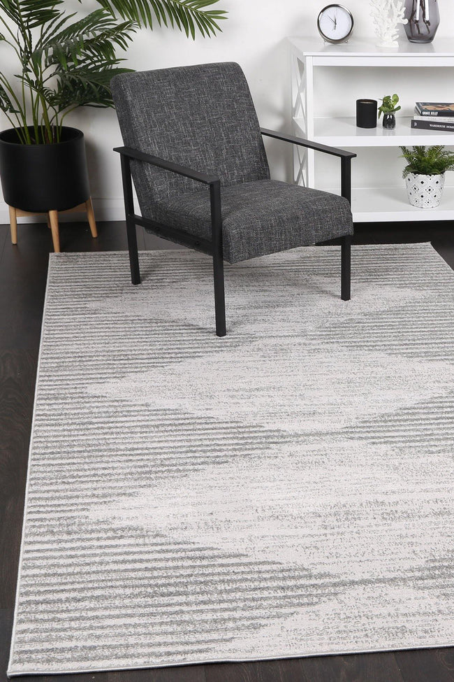 Layla Abstract Diamond Grey Rug