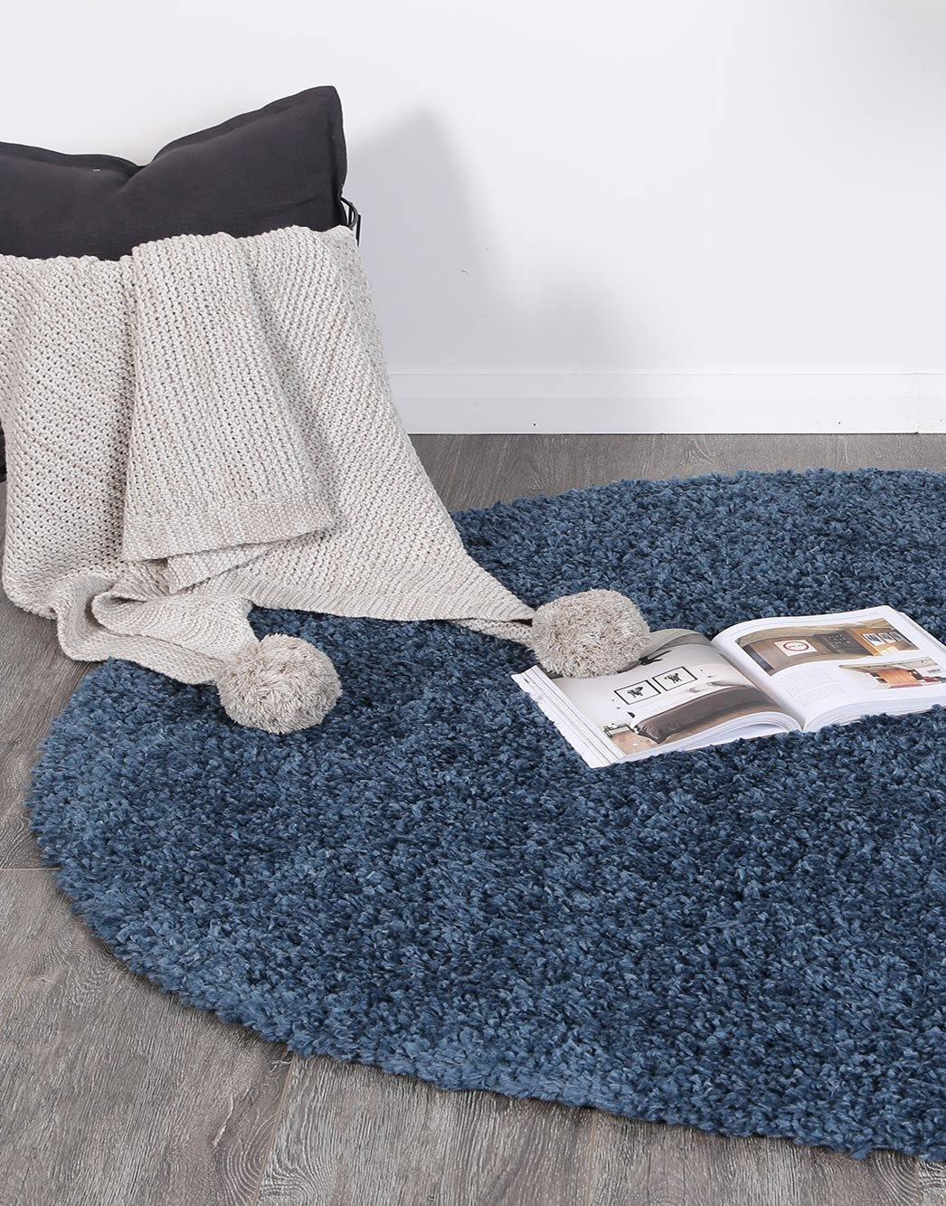 Danso Shaggy Navy Blue Round Rug - The Rugs