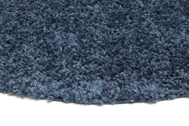 Danso Shaggy Navy Blue Round Rug