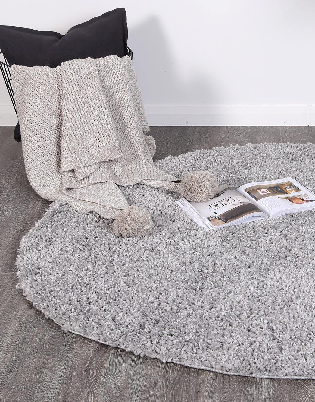 Danso Shaggy Silver Grey Round Rug - The Rugs