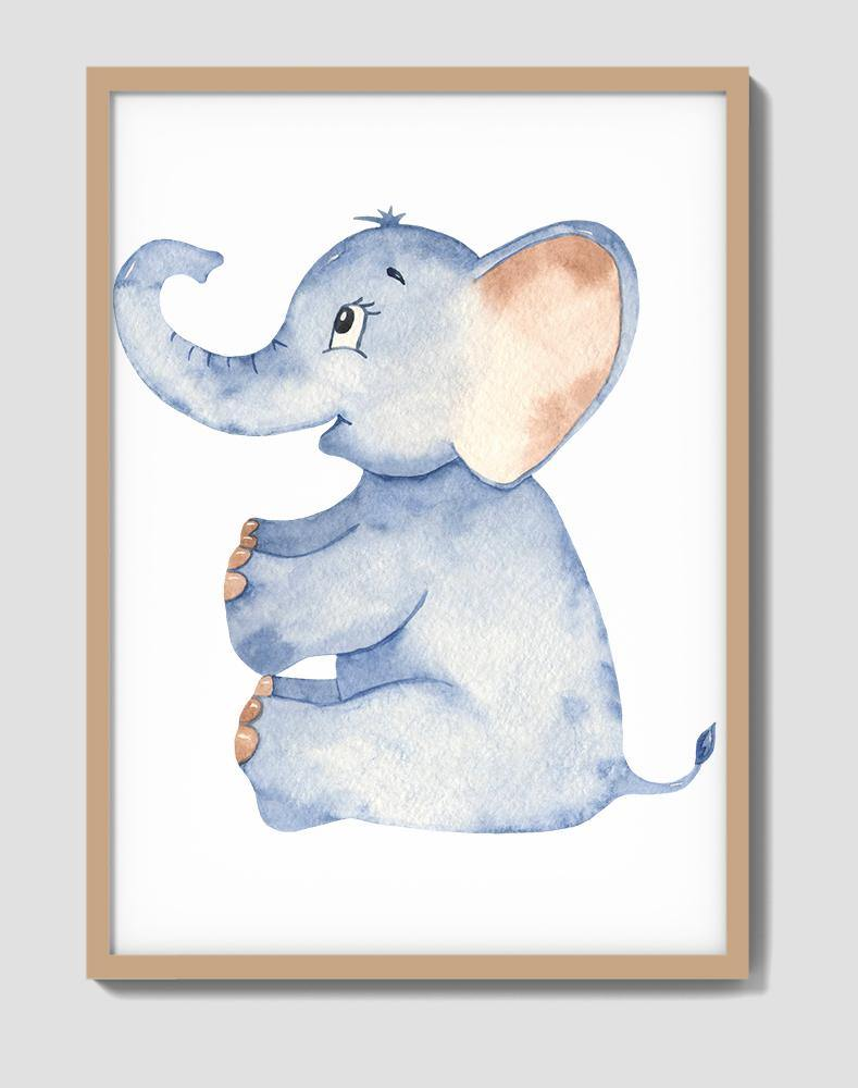 Blue Elephant Nursery Watercolour Wall Art - The Rugs
