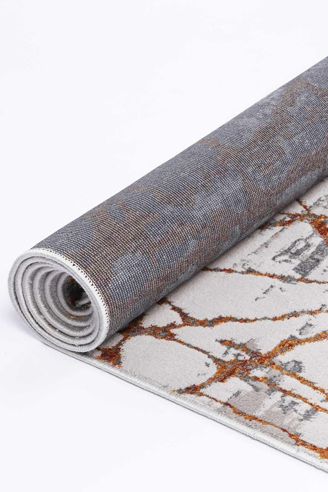 Drift Geometric Grey Rust Rug