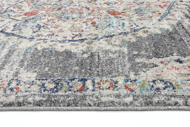 Clara Hollow Medalion Transitional Grey Rug