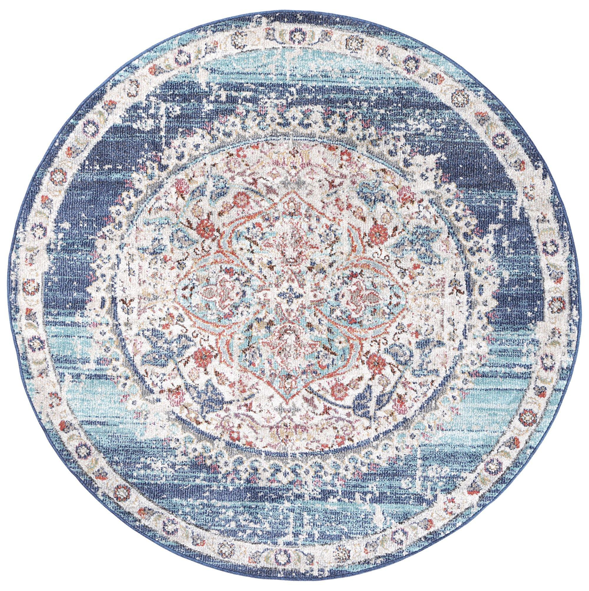 Clara Hollow Medalion Transitional Navy Multi Round Rug - The Rugs