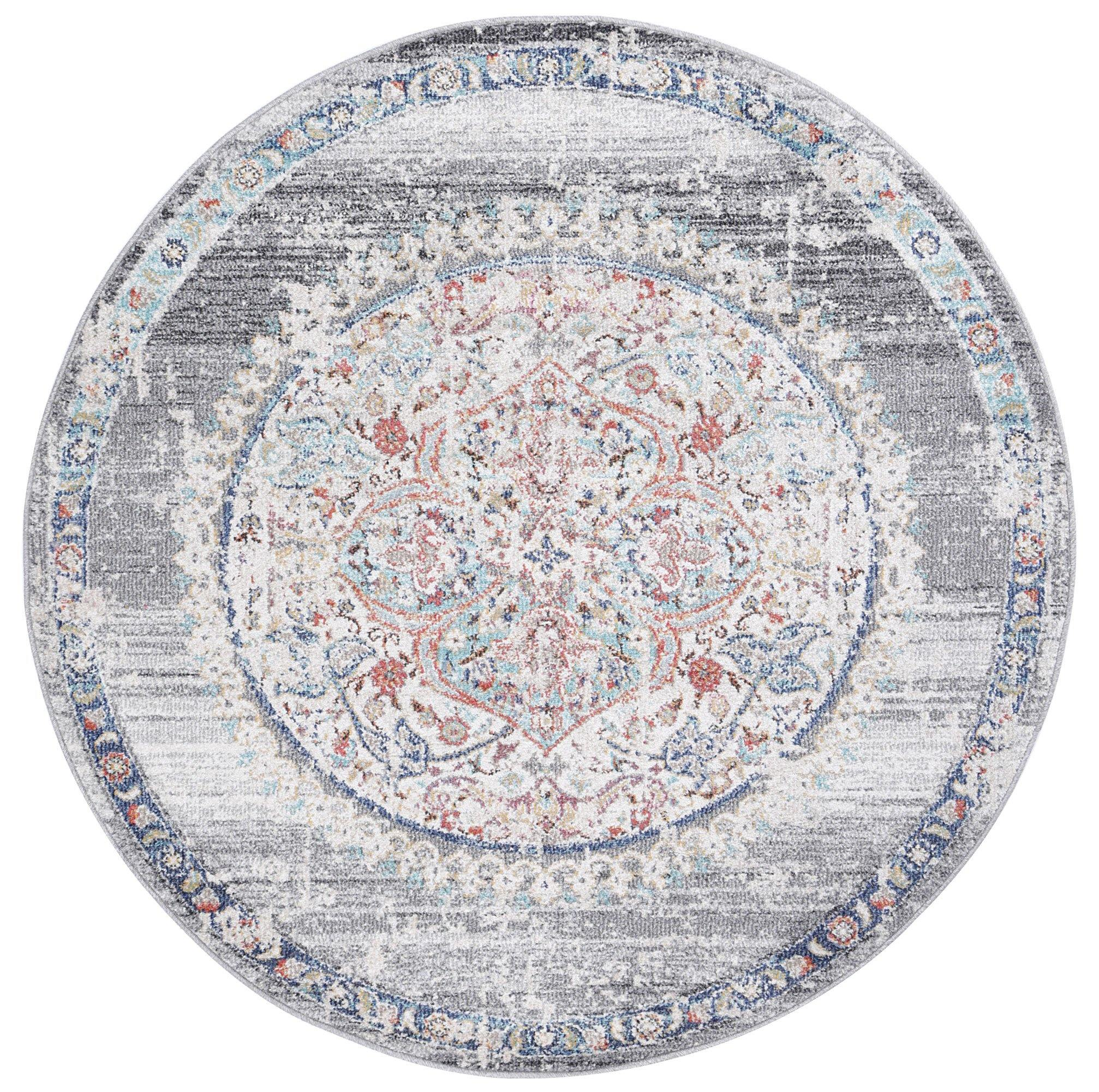 Clara Hollow Medalion Transitional Grey Round Rug - The Rugs
