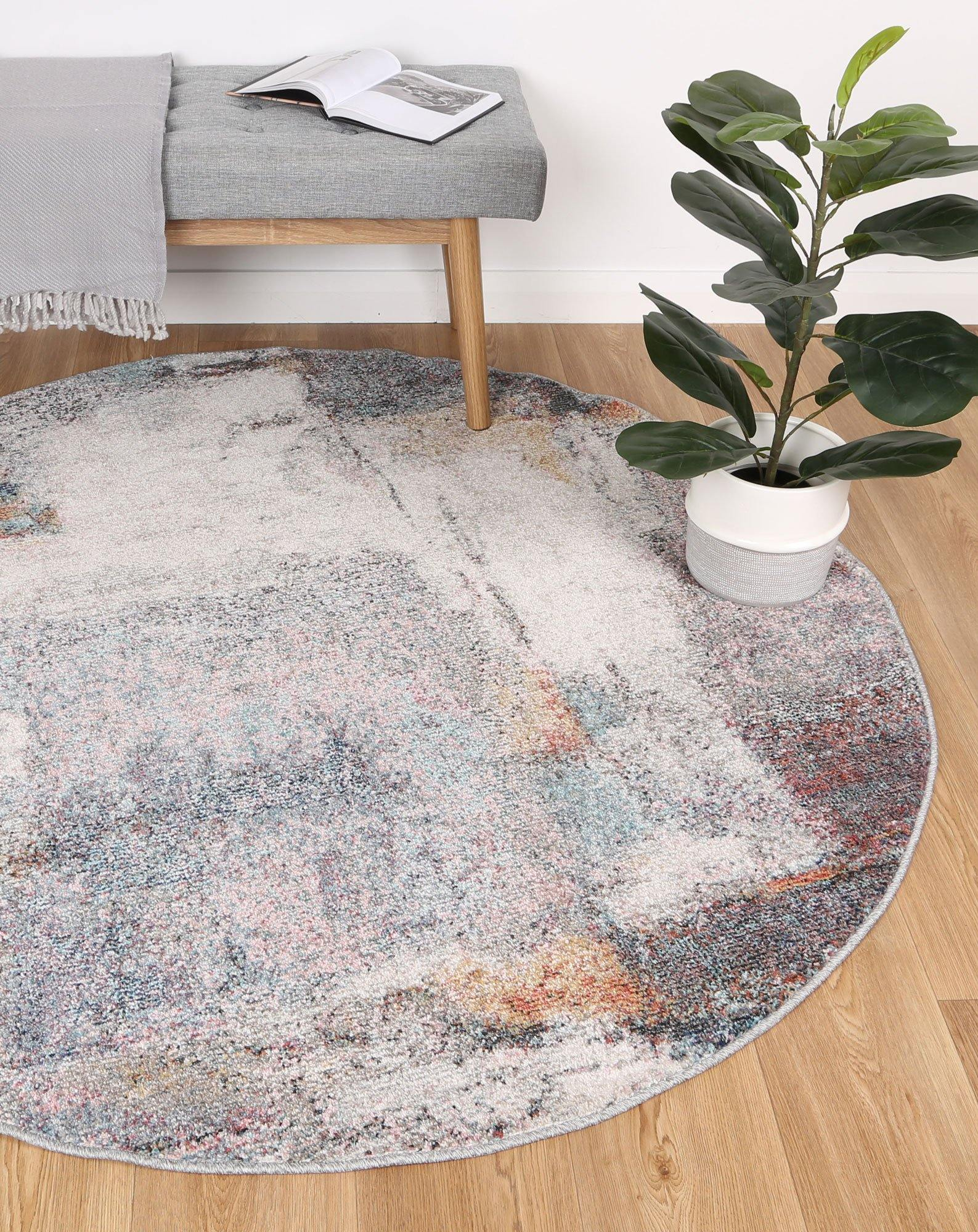 Clara Aveza Abstract Grey Round Rug - The Rugs