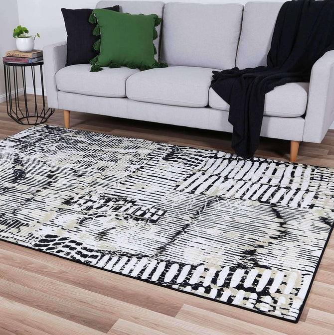 Ascot Black and Cream Patterned Rug, [cheapest rugs online], [au rugs], [rugs australia]