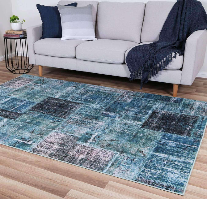 Ascot Blue Patchwork Rug, [cheapest rugs online], [au rugs], [rugs australia]