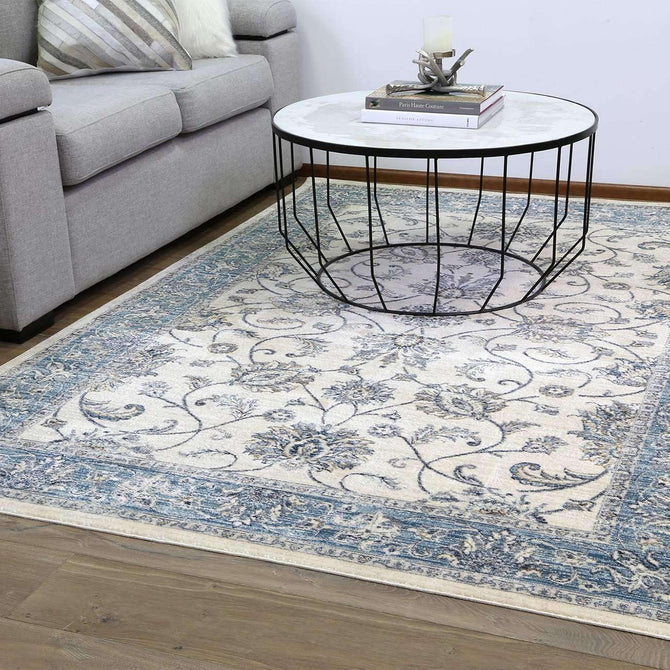 Casper Chobi Transitional Design Cream Blue Rug, [cheapest rugs online], [au rugs], [rugs australia]