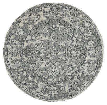 Classic Whimsical Boarder Grey Distressed Round Rug