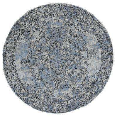 Classic Whimsical Medallion Blue Distressed Round Rug, [cheapest rugs online], [au rugs], [rugs australia]