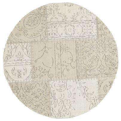 Classic Whimsical Patchwork Beige Distressed Round Rug, [cheapest rugs online], [au rugs], [rugs australia]