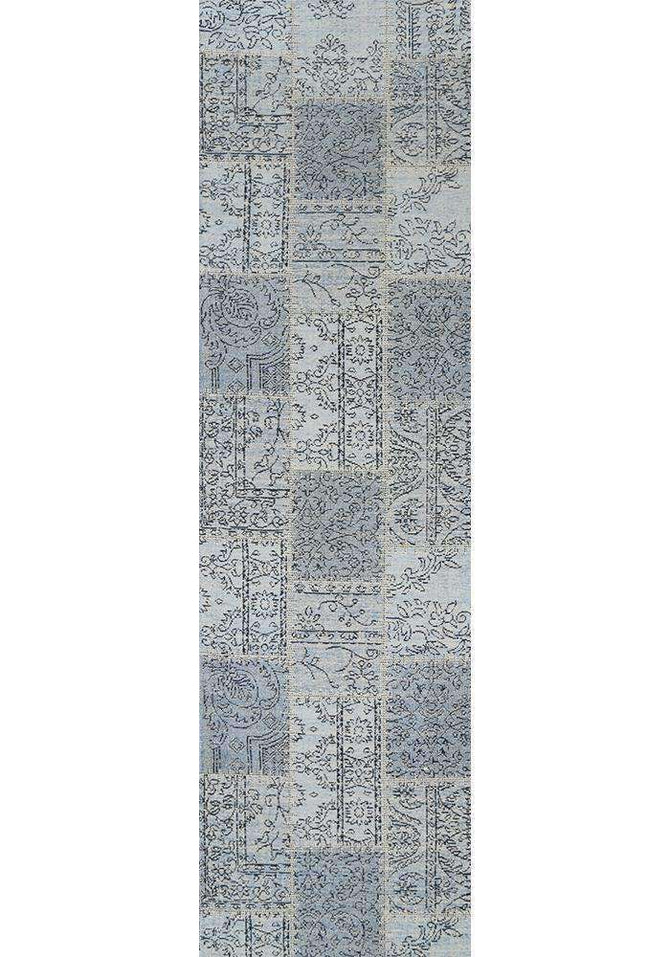 Classic Whimsical Patchwork Blue Distressed Runner Rug, [cheapest rugs online], [au rugs], [rugs australia]