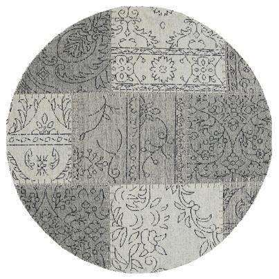 Classic Whimsical Patchwork Grey Distressed Round Rug, [cheapest rugs online], [au rugs], [rugs australia]