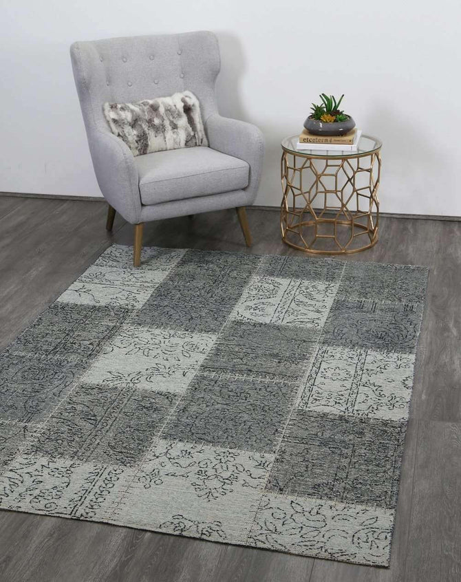 Classic Whimsical Patchwork Grey Distressed Rug, [cheapest rugs online], [au rugs], [rugs australia]