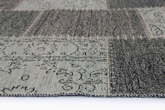 Classic Whimsical Patchwork Grey Distressed Runner Rug, [cheapest rugs online], [au rugs], [rugs australia]