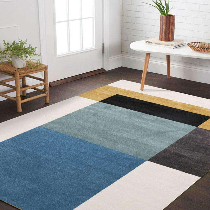 Divinity Cubism Blue Gold Modern Rug, [cheapest rugs online], [au rugs], [rugs australia]