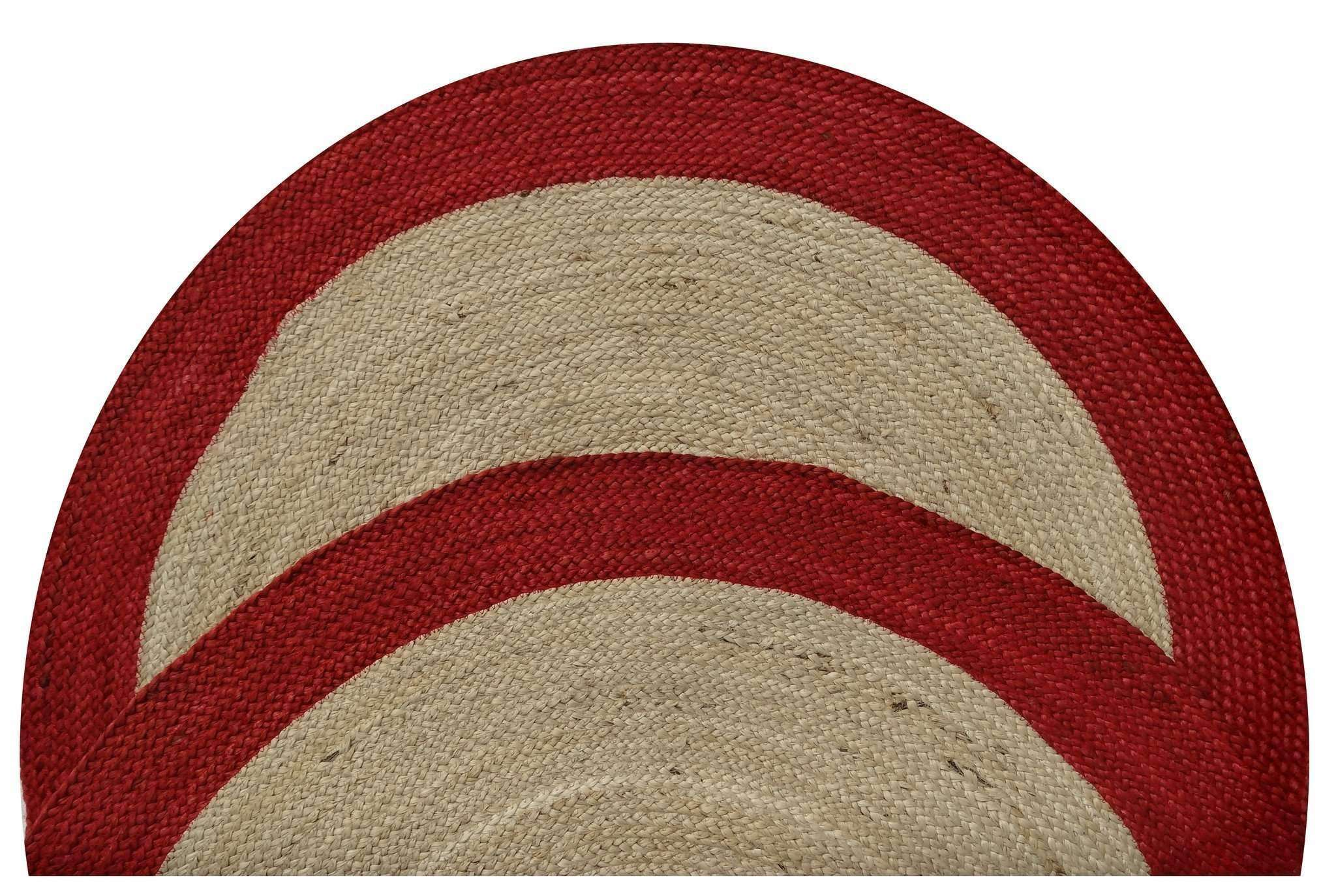 Dot Border Jute Round Red Firebox Rug, [cheapest rugs online], [au rugs], [rugs australia]