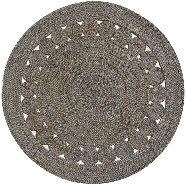 Dot Rose Jute Round Grey Rug, [cheapest rugs online], [au rugs], [rugs australia]
