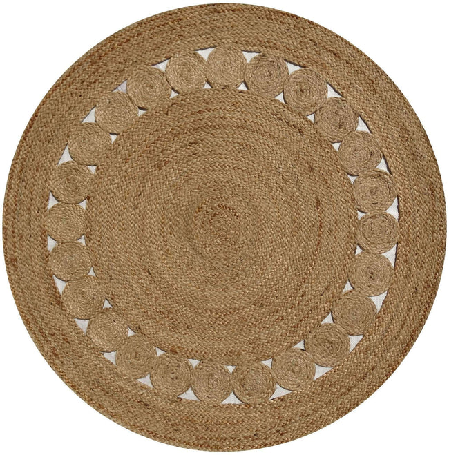 Dot Rose Jute Round Natural Rug, [cheapest rugs online], [au rugs], [rugs australia]