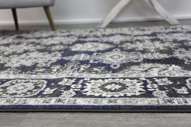 Eden Navy Blue and Grey Ziegler Traditional Ikat Rug, [cheapest rugs online], [au rugs], [rugs australia]