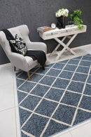 Emory Blue and Cream Cross Diamond Rug, [cheapest rugs online], [au rugs], [rugs australia]