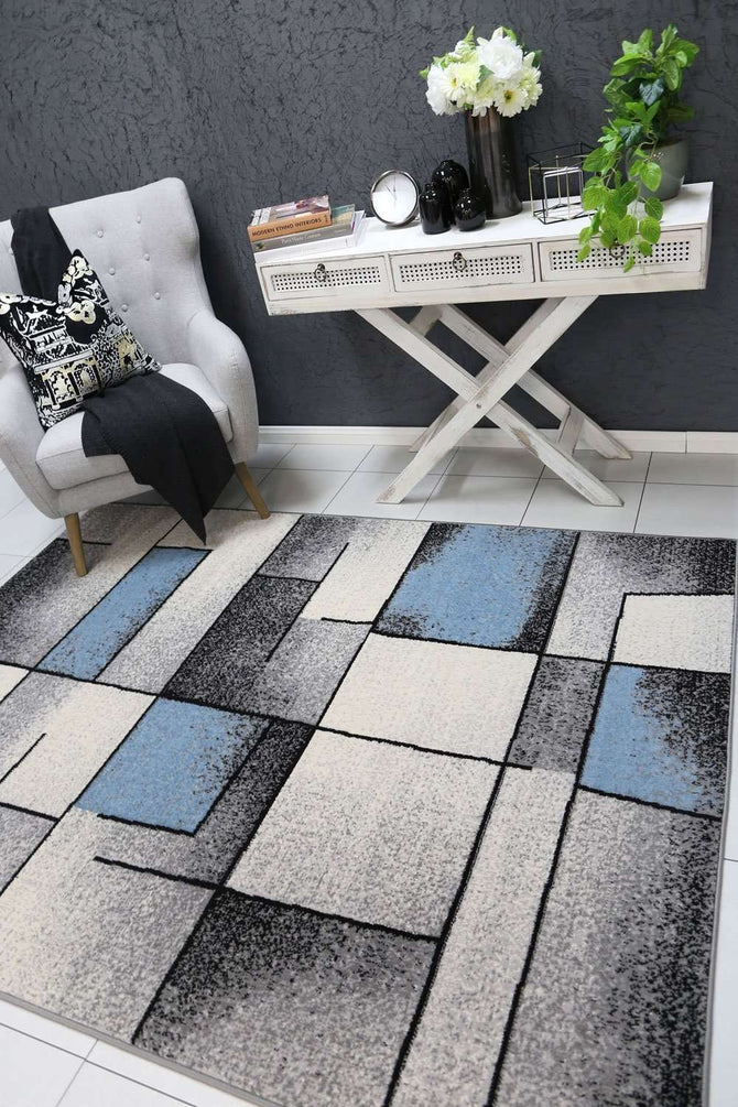 Emory Blue and Grey Modern Squares Rug, [cheapest rugs online], [au rugs], [rugs australia]