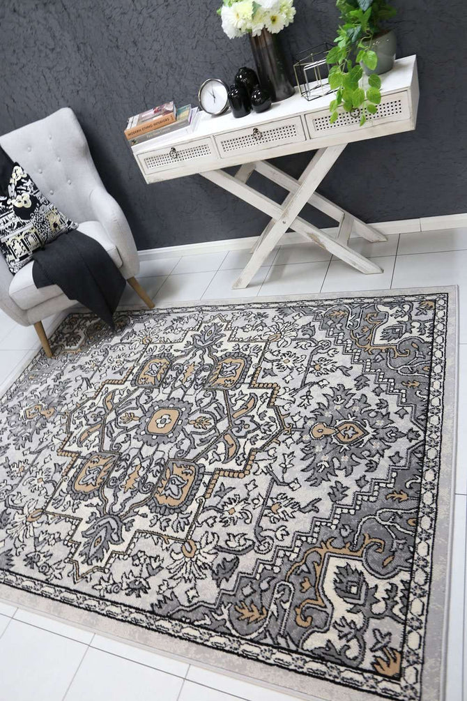 Emory Grey and Beige Distressed Vintage Rug, [cheapest rugs online], [au rugs], [rugs australia]