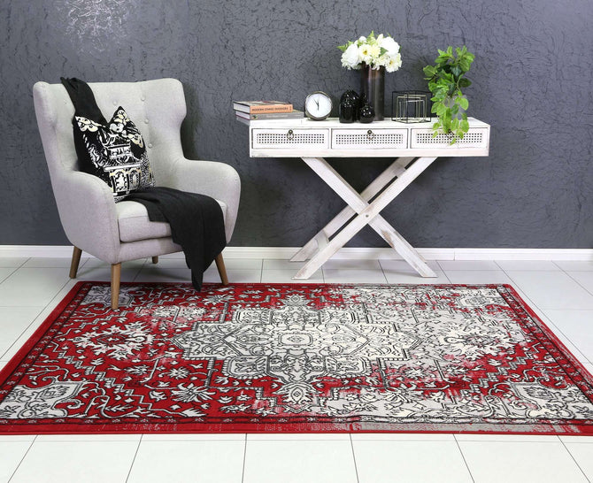 Emory Grey and Red Distressed Vintage Rug, [cheapest rugs online], [au rugs], [rugs australia]