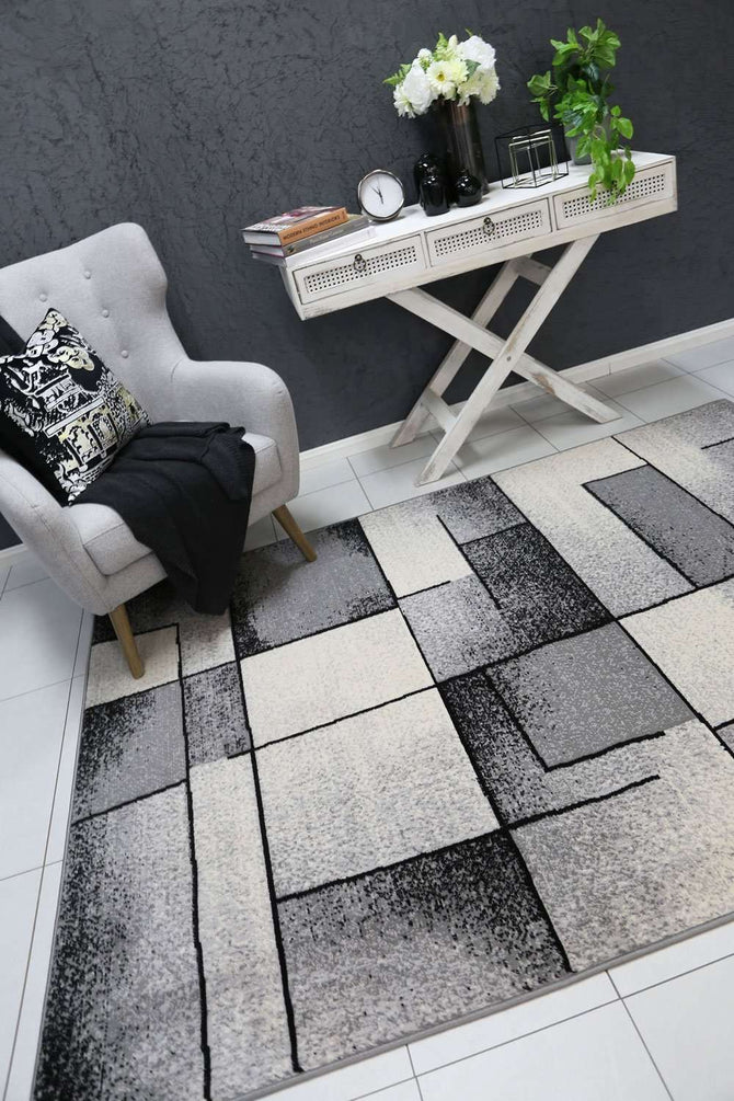 Emory Grey Modern Squares Rug, [cheapest rugs online], [au rugs], [rugs australia]