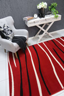 Emory Red Modern Abstract Stripes Rug