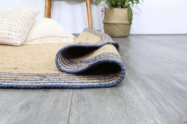 Faro Natural Round Navy Border Rug, [cheapest rugs online], [au rugs], [rugs australia]