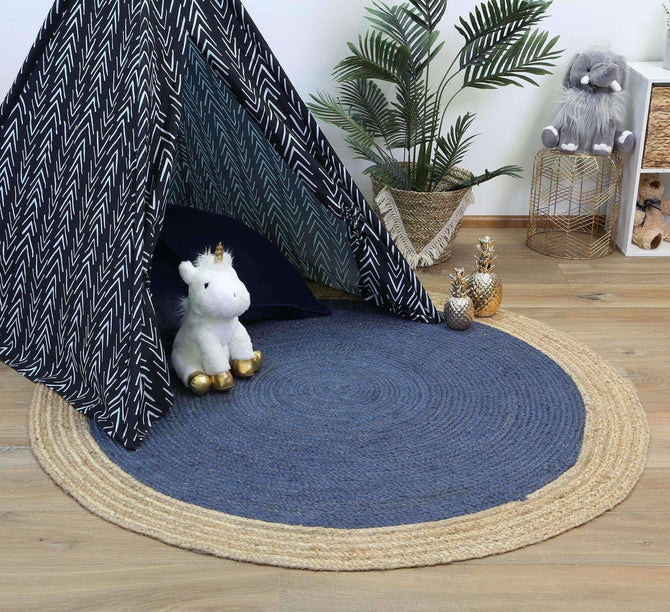 Faro Navy Centre Jute Round Rug, [cheapest rugs online], [au rugs], [rugs australia]
