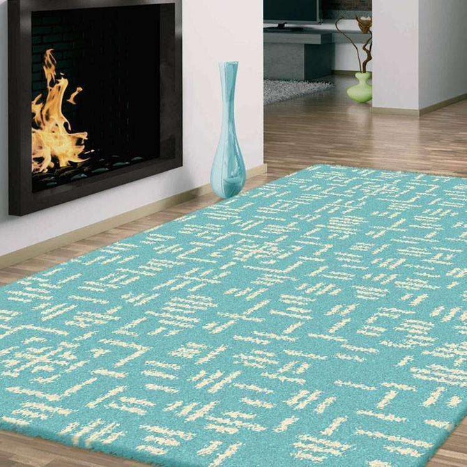 Hermitance Patterned Shag 920 Turquoise Rug, [cheapest rugs online], [au rugs], [rugs australia]