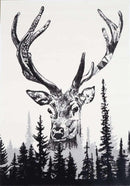 Iconic Deer Picture Modern Rug