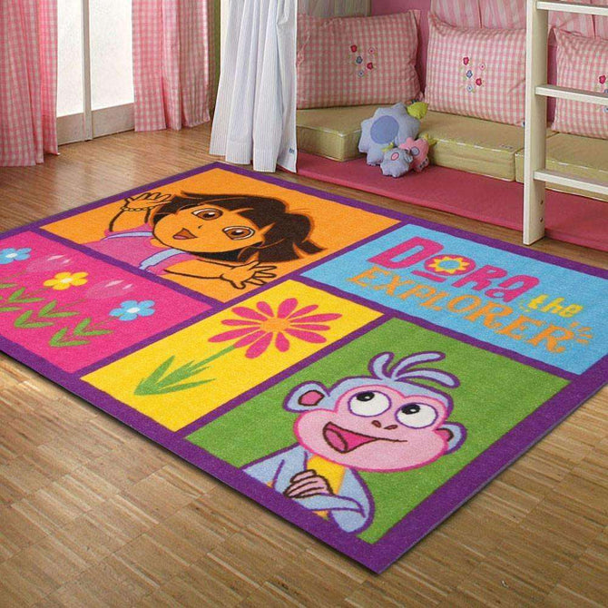 Kids Dora The Explorer Garden Multi Fun Play Rug, [cheapest rugs online], [au rugs], [rugs australia]
