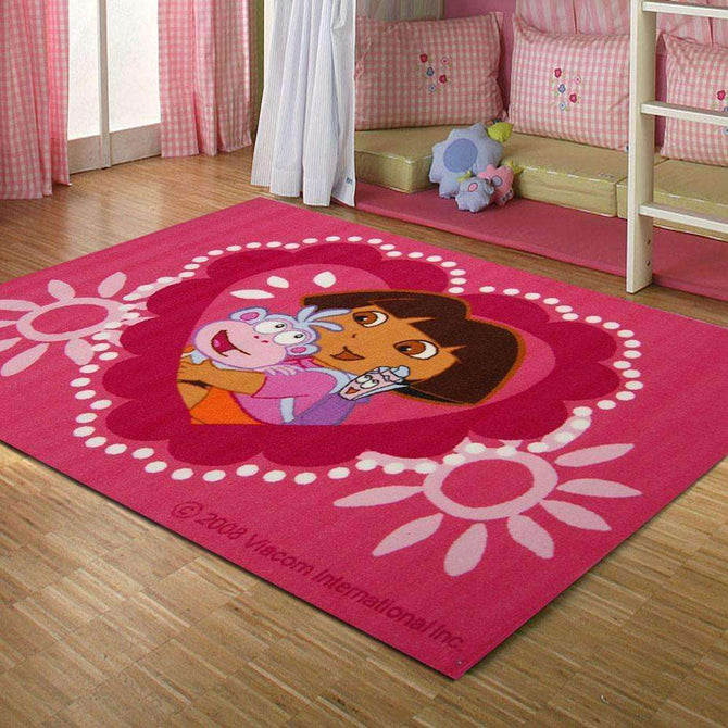 Kids Dora The Explorer Hearts Fun Play Rug, [cheapest rugs online], [au rugs], [rugs australia]