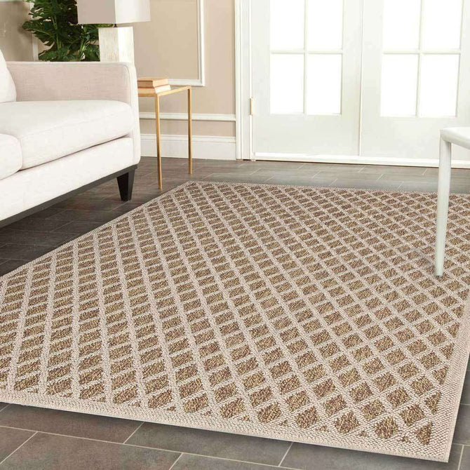 Landscape Brown Beige Bordered Diamond Pattern Ikat Rug, [cheapest rugs online], [au rugs], [rugs australia]
