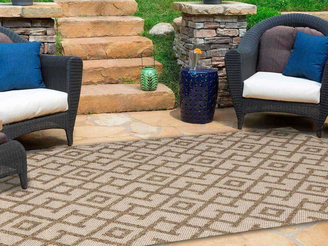 Landscape Brown Beige Diamond Shaped Rug, [cheapest rugs online], [au rugs], [rugs australia]