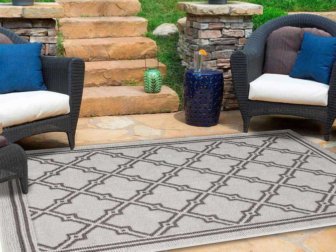 Landscape Grey Diamond Shaped Geometric Ikat Bordered Rug, [cheapest rugs online], [au rugs], [rugs australia]