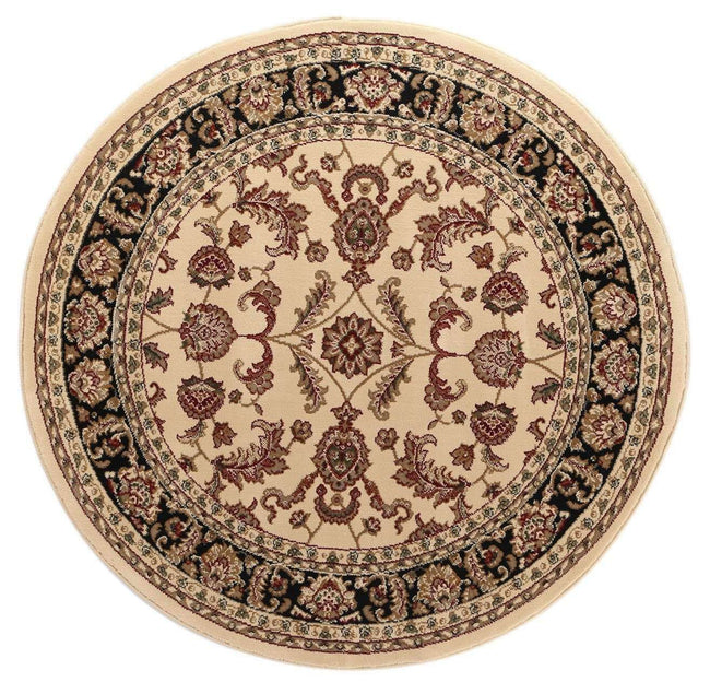 Lavish Traditional Collection 500 Cream/Black Round Rug, [cheapest rugs online], [au rugs], [rugs australia]