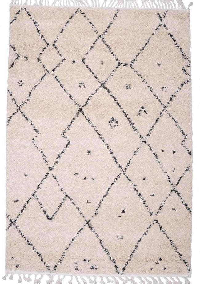 Moroccan Tribal Patterns Cream Graphite Kara Rug, [cheapest rugs online], [au rugs], [rugs australia]