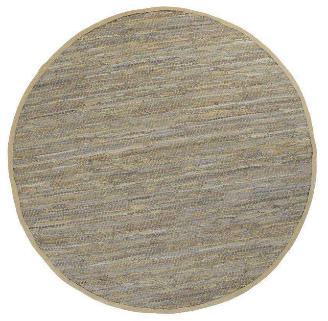 Nordic Modern Sage Leather Round Rug, [cheapest rugs online], [au rugs], [rugs australia]