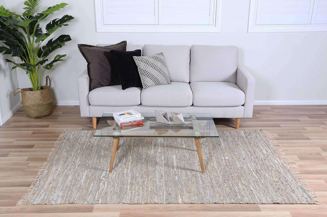 Nordic Modern Sage Leather Rug, [cheapest rugs online], [au rugs], [rugs australia]
