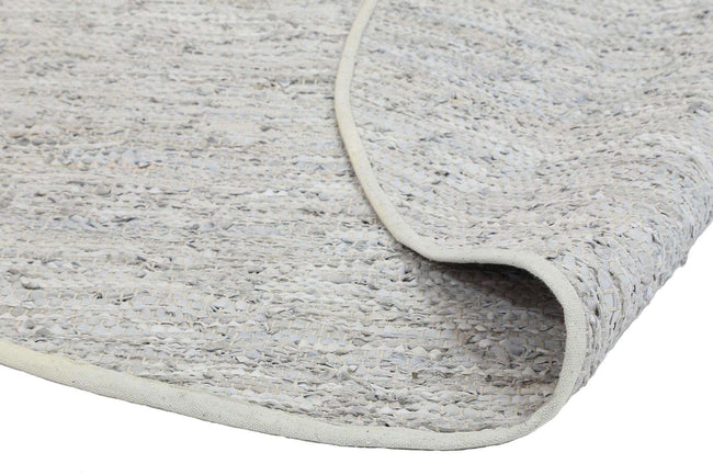 Nordic Modern White Leather Round Rug, [cheapest rugs online], [au rugs], [rugs australia]