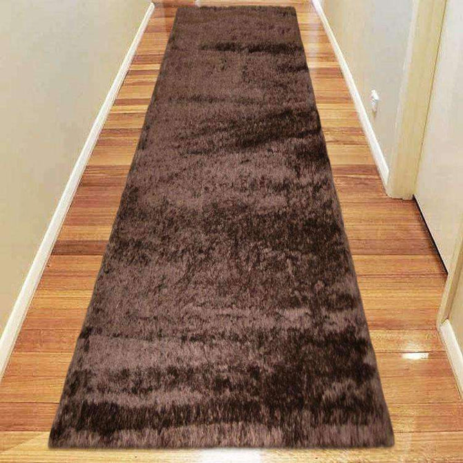 Oslo Silky Soft Shag 1001 Chocolate Runner Rug, [cheapest rugs online], [au rugs], [rugs australia]