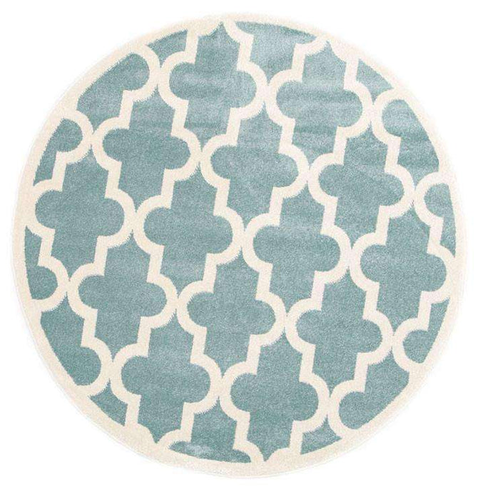 Paddington Aqua White Lattice Pattern Kids Round Rug, [cheapest rugs online], [au rugs], [rugs australia]