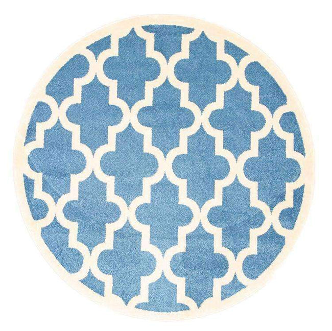 Paddington Blue and White Lattice Pattern Kids Round Rug, [cheapest rugs online], [au rugs], [rugs australia]